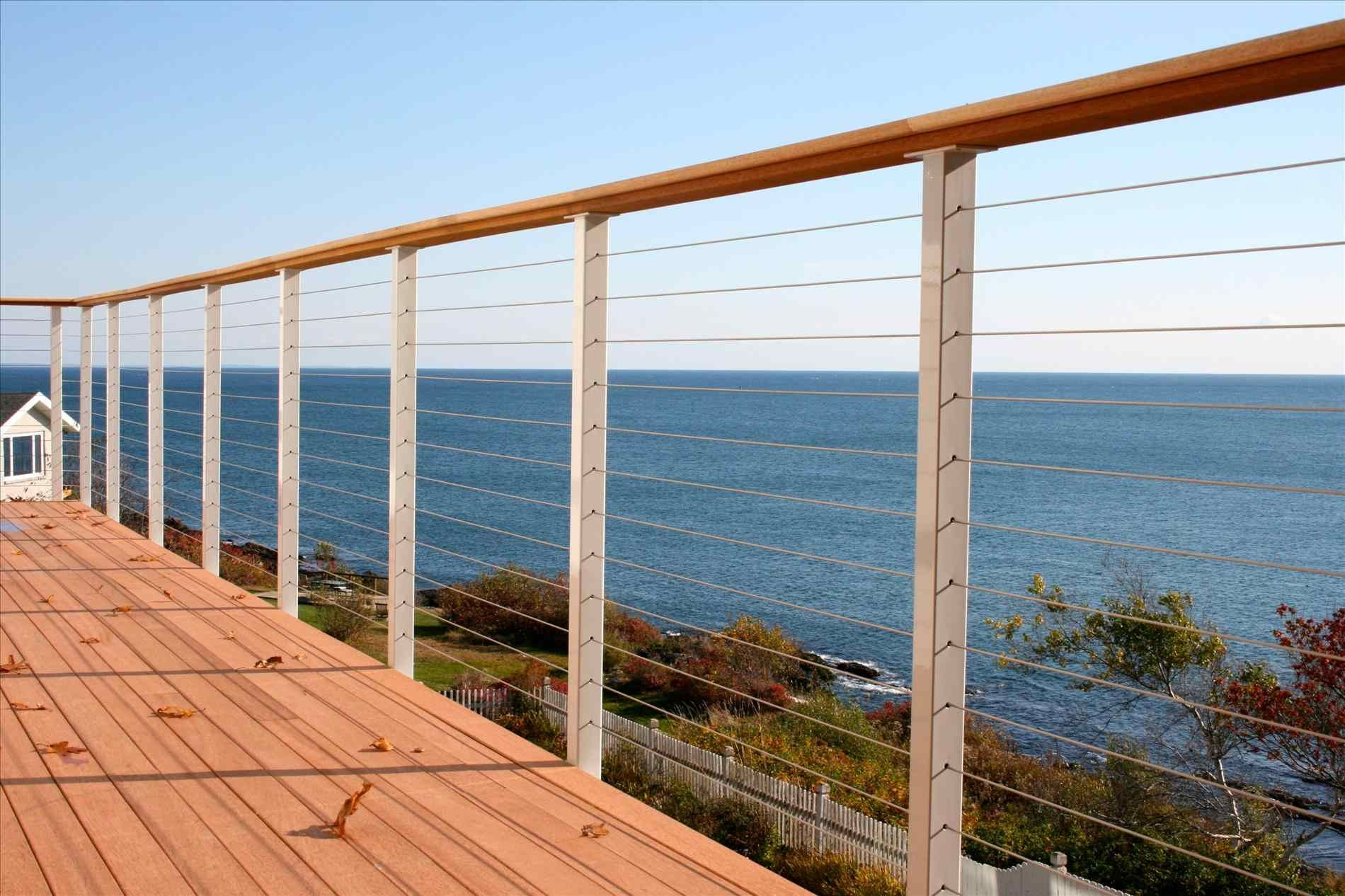 Extremely Durable And Attractive Cable Deck Railing Cable Deck | Graspable Handrail Home Depot | Deck Railing | Wrought Iron | Wood | Stair Rail | Porch