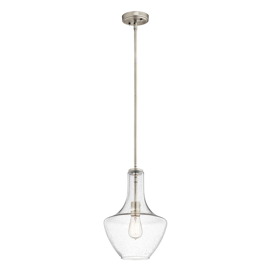 Kichler everly 105 in brushed nickel industrial single seeded glass kichler everly 105 in brushed nickel industrial single seeded glass teardrop pendant arubaitofo Gallery