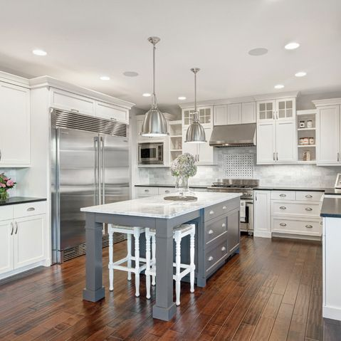 White Kitchen Gray Island Design Ideas Pictures Remodel And Decor By Axiom Luxury Homes Kitchen Design Traditional Kitchen Design White Marble Kitchen