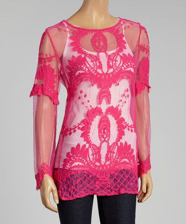 Look what I found on #zulily! Pink Sheer Lace Long-Sleeve Top #zulilyfinds