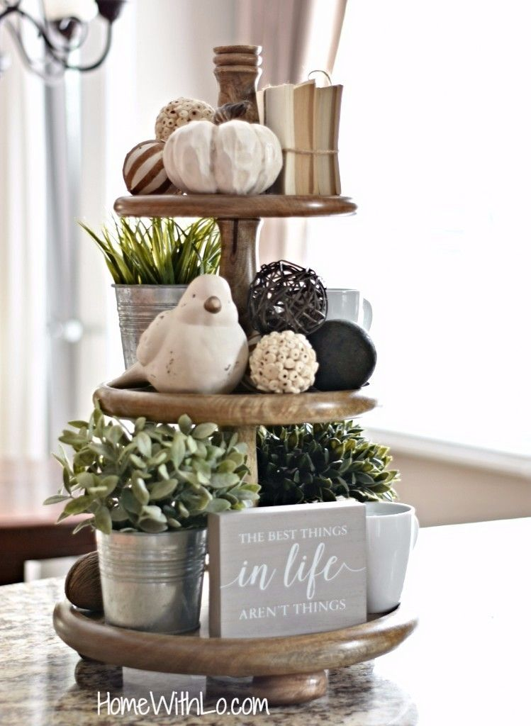 Farmhouse Style Three Tier Decorative Tray Detailed Description And Source List Available At Homewithlo Com Tiered Tray Decor Country House Decor Tray Decor