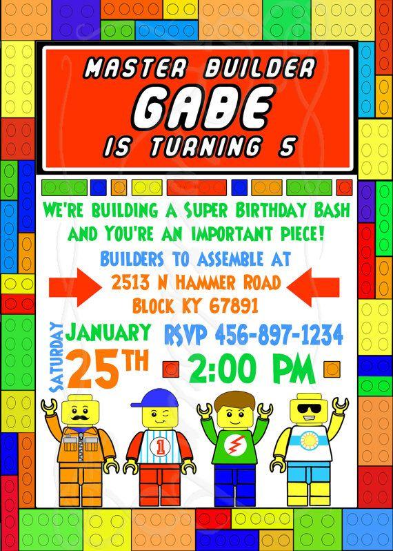 Lego Party Invite Etsy