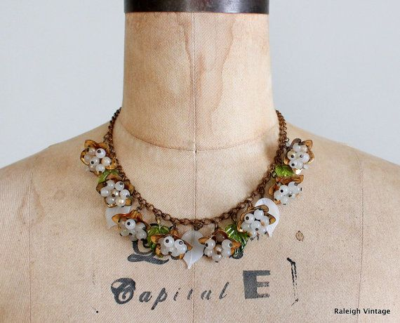 Vintage 1930s Necklace  30s 40s Brass and Glass by RaleighVintage, $128.00
