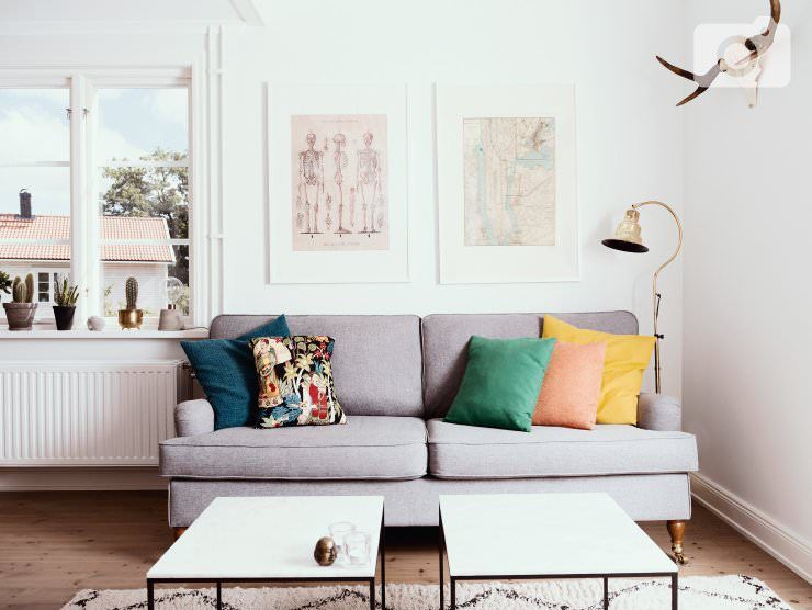 Photo: Furniturebox Our gray Howard-sofa from @furniturebox. Marble tables from @ilva. Searchwords: gray, sofa, couch, scandinavian, interior, brass, lamp, cactus, swedish, design, marble, marble table, antlers, decor, anatomy, poster, Manhattan, new York, inspiration