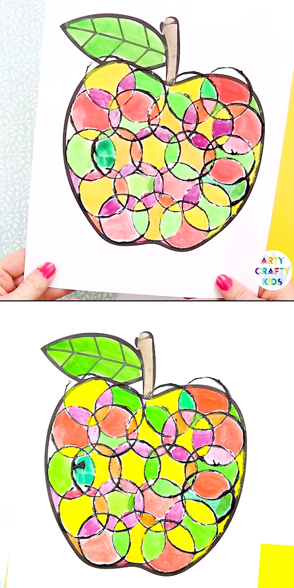 Back to School Circle Print Apple Art