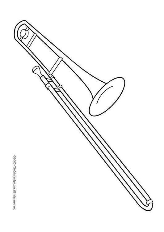 Trombone Coloring Page Musical Instruments Coloring Pages
