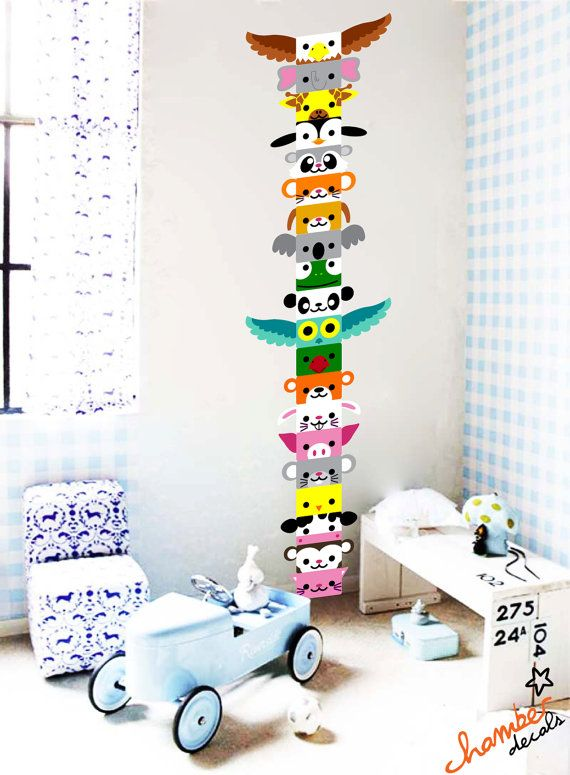 Cute animals totem wall decal sticker by chamberdecals on etsy 60 00