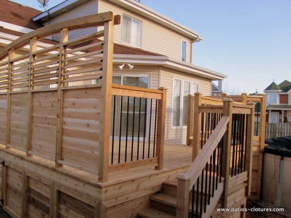 Deck de piscine hors terre sainte th r se project for Construire deck piscine