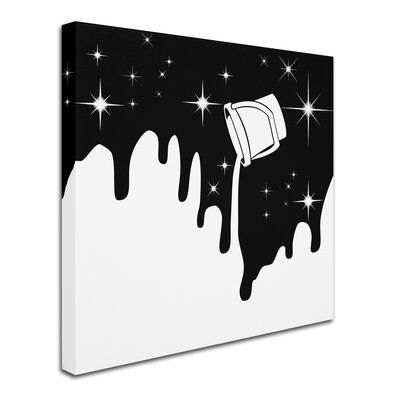 Trademark Fine Art This ready to hang, gallery-wrapped art piece features a graphic illustration of a paint bucket pouring white over a starry sky. Giclee (jee-clay) is an advanced printmaking process for creating high quality fine art reproductions. The attainable excellence that Giclee printmaking affords makes the reproduction virtually indistinguishable from the original piece. The result is wide acceptance of Giclee by galleries, museums and private collectors. Gallery wrap is a method of s