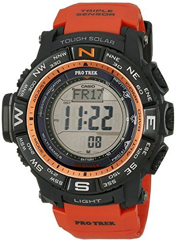 8c39df33d3b Casio Mens PRW3500Y4CR Atomic Black Digital with Orange Resin Band Watch --  To view further for this item