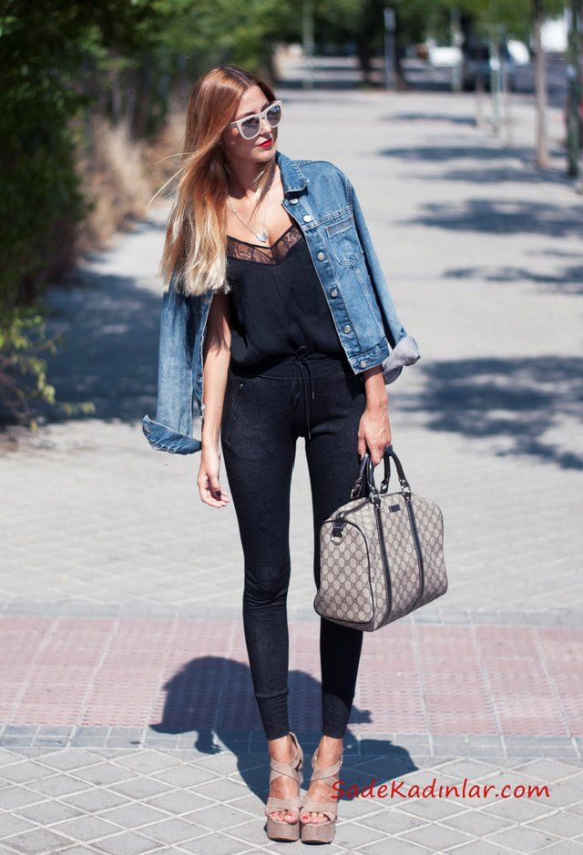 Photo of 2019 Kot Ceket Kombinleri Siyah Skinny Pantolon Siyah Askılı Bluz Mavi Kot Ceket Vizon Topuklu Ayakkabı Vizon Çanta