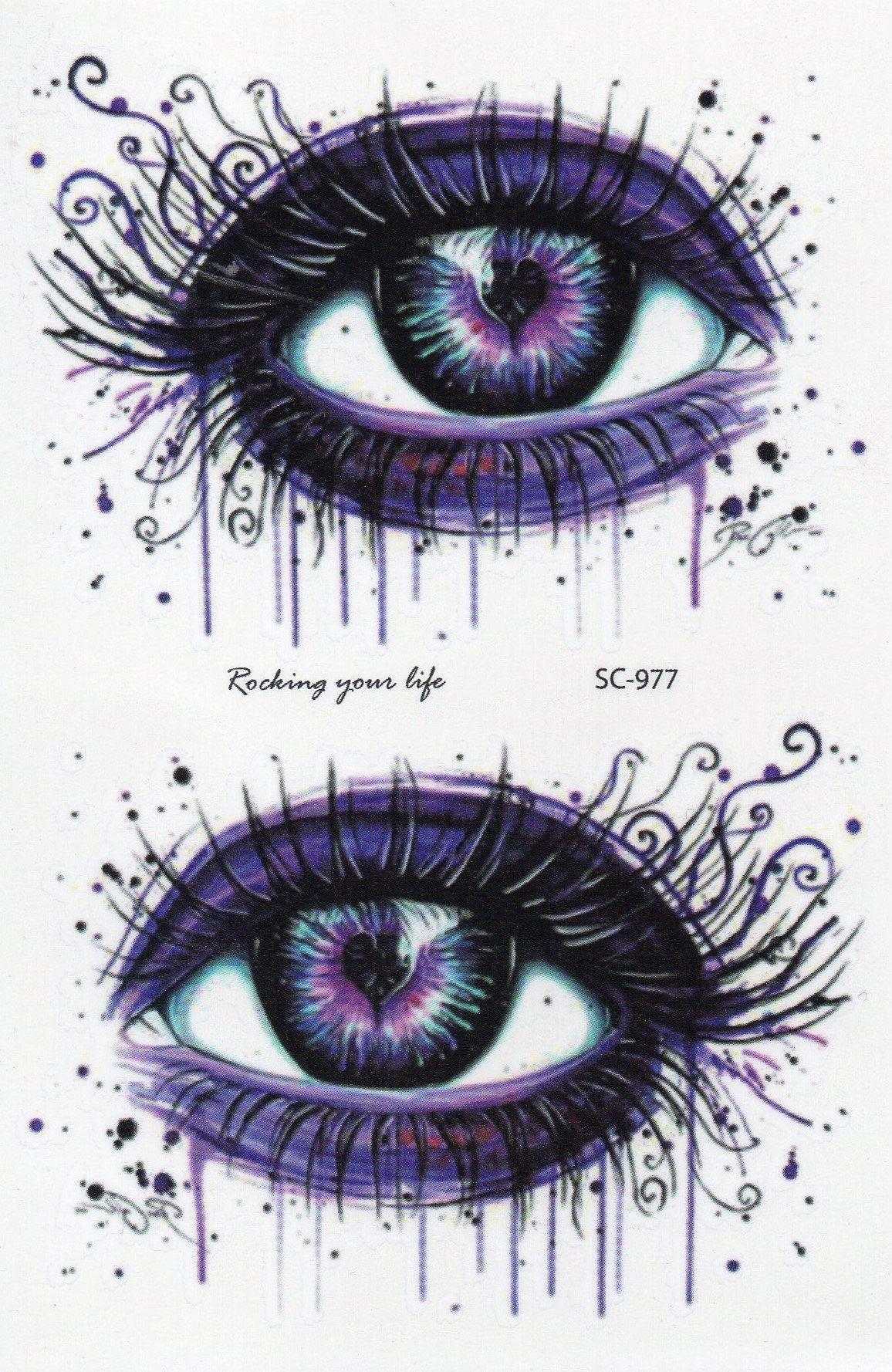 Eye Watercolor Colorful Temporary Tattoo Fake Tattoo 3,9x5