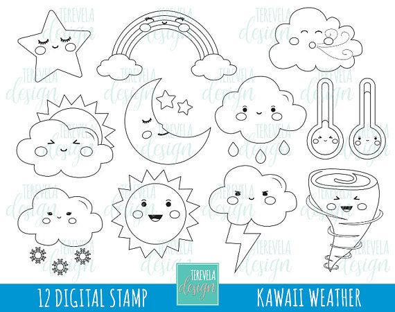 50 SALE Weather Digital Stamps Digi Commercial Use Coloring Page Raimbow