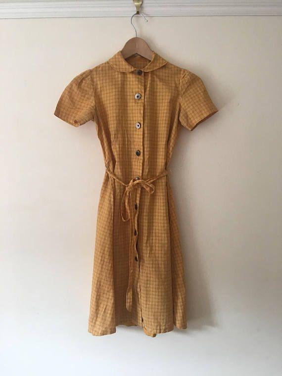 Beautiful 1940's childs mustard yellow check dress