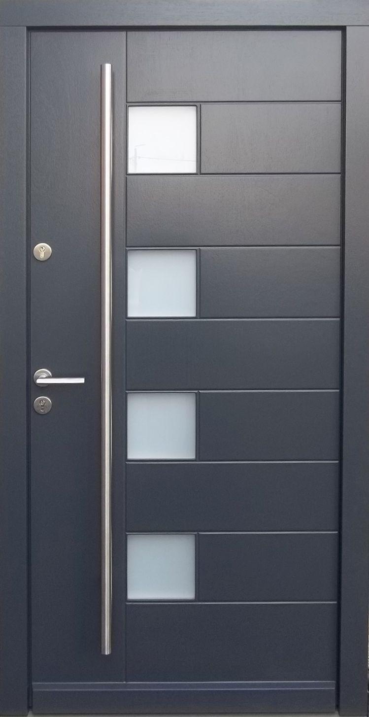 Model 002 Modern Grey Finish Wood Exterior Door Modern Home