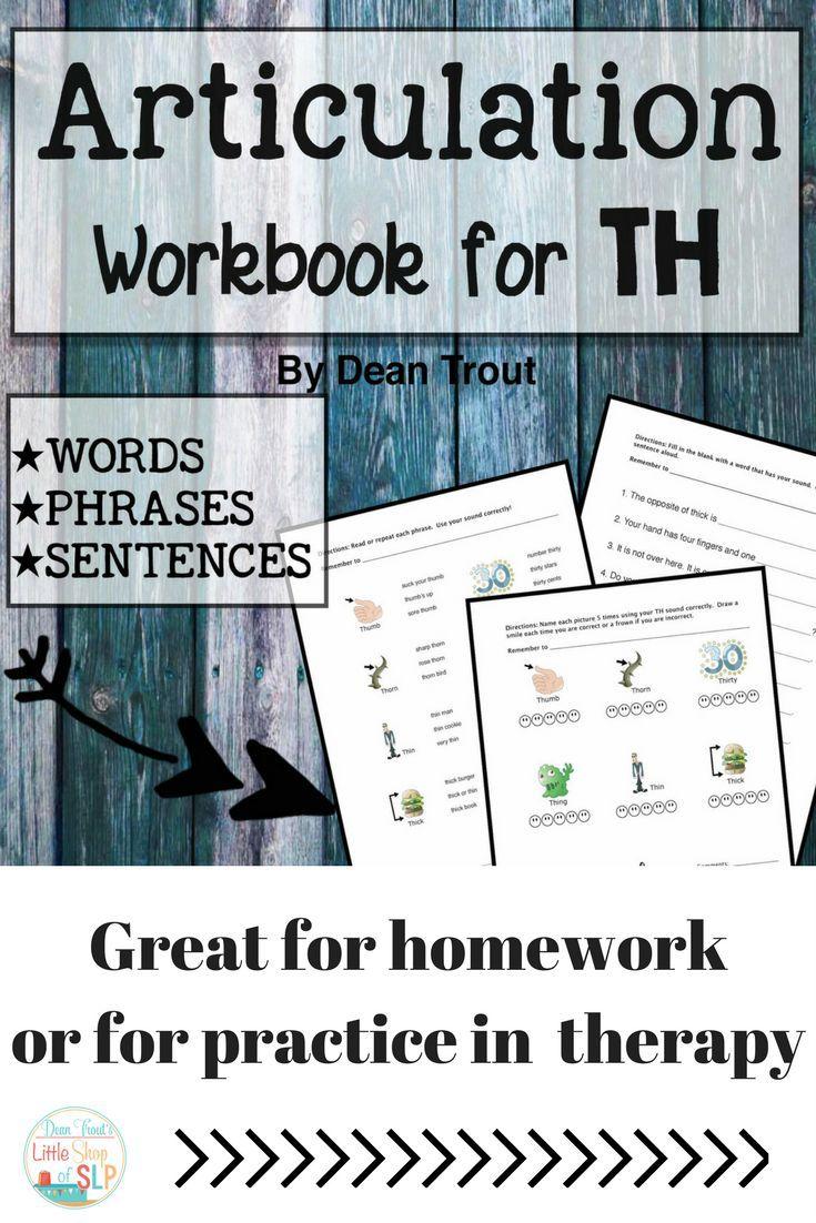 Workbooks speech therapy workbooks : Articulation Workbook for the TH Sound Just print | Homework ...