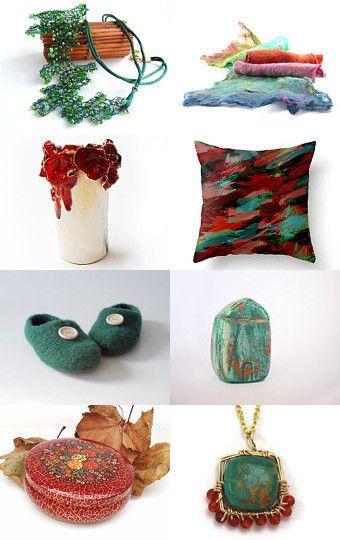 'Happy Mix' by Irina Wardas on Etsy - #gifts #jewelry #vintage #orange #teal #pillow #scarf #ceramic #decor