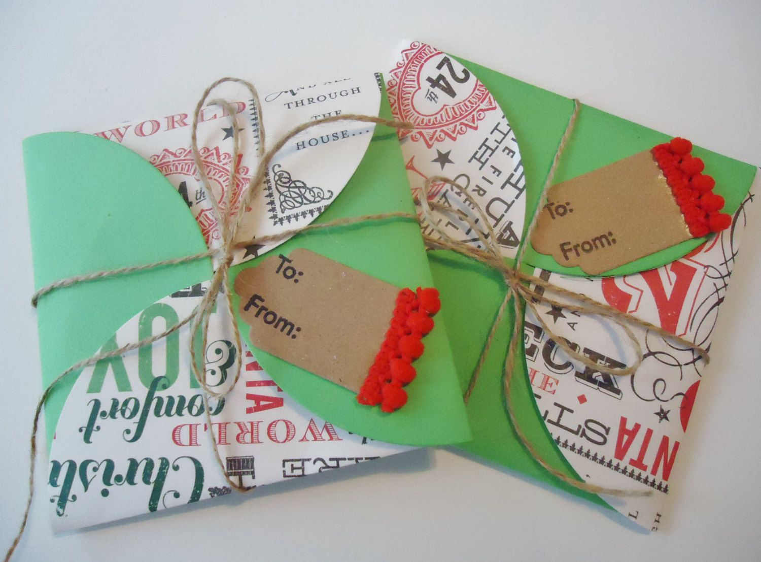 Christmas gift card holders/envelopes, set of 2 for gift card or cash money, easy..insert card, fold up, add included bow..done. by JustforUnotes on Etsy