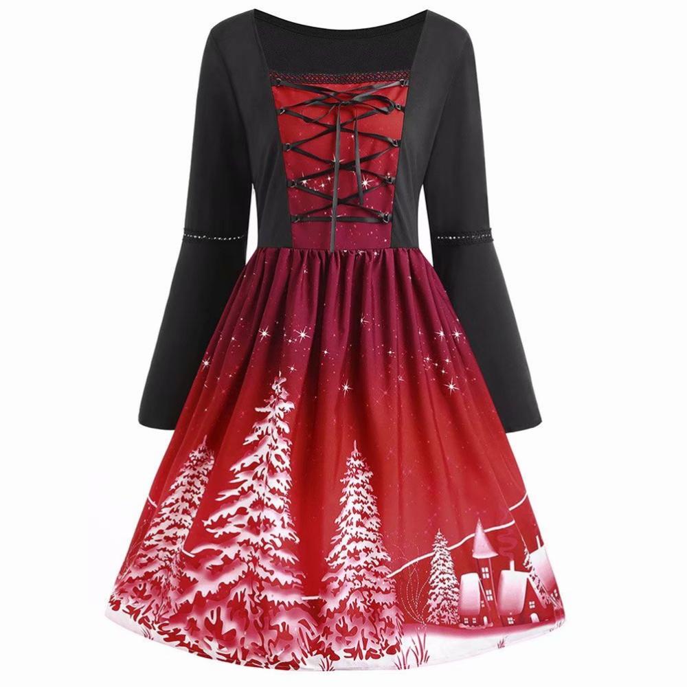 Akoyovwerve Akoyovwerve Christmas Dresses For Women Midi Flare Dress Swing Dress Xmas Plus Size Vintage Lace Up Party Dress Wine Red Walmart Com Midi Flare Dress Plus Size Red Dress Christmas [ 1000 x 1000 Pixel ]
