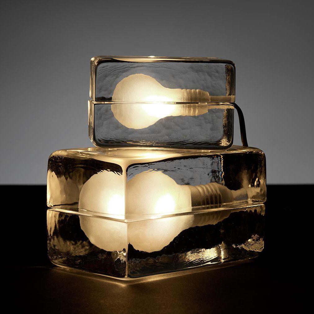 Lampe  poser Verre fil Blanc L16cm BLOCK