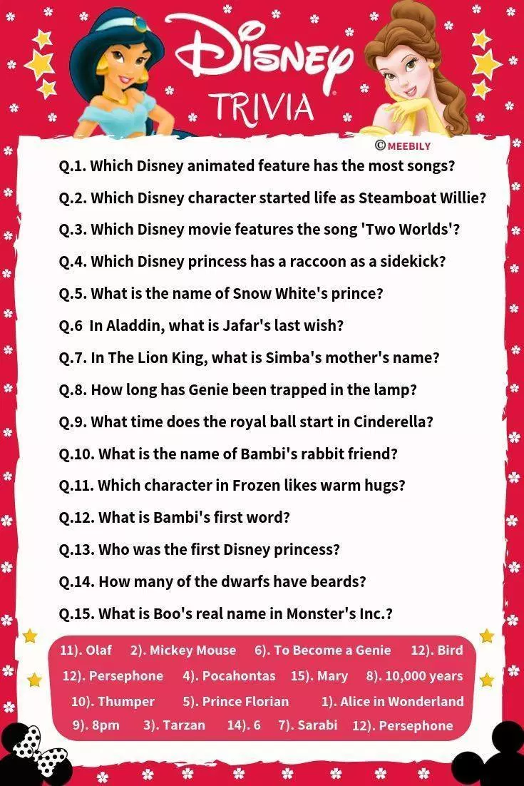 100 Disney Movies Trivia Question Answers Meebily Disney Movie Trivia Movie Trivia Questions Fun Quiz Questions