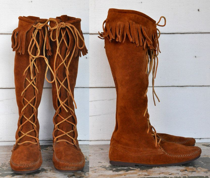 d69afc800149 MINNETONKA Tall Boots Knee High Lace-up Brown Suede Moccasins Leather with  Fringes Boho Hippie Festival size 8 by ItaLaVintage on Etsy