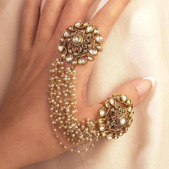 Statement Kundan Bridal Ring Gold plated Kundan Wedding Jewelry