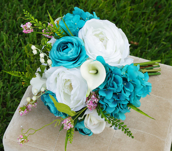 Wedding Teal Turquoise Natural Touch Roses Silk Flower Bride Bouquet