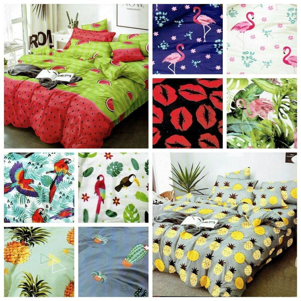 3 Tlg 4 Tlg Bettwasche 155x200 Garnitur Bettbezug Wassermelon Flamingo Rosa Grun In 2020 Bettwasche Bettbezug Biber Bettwasche