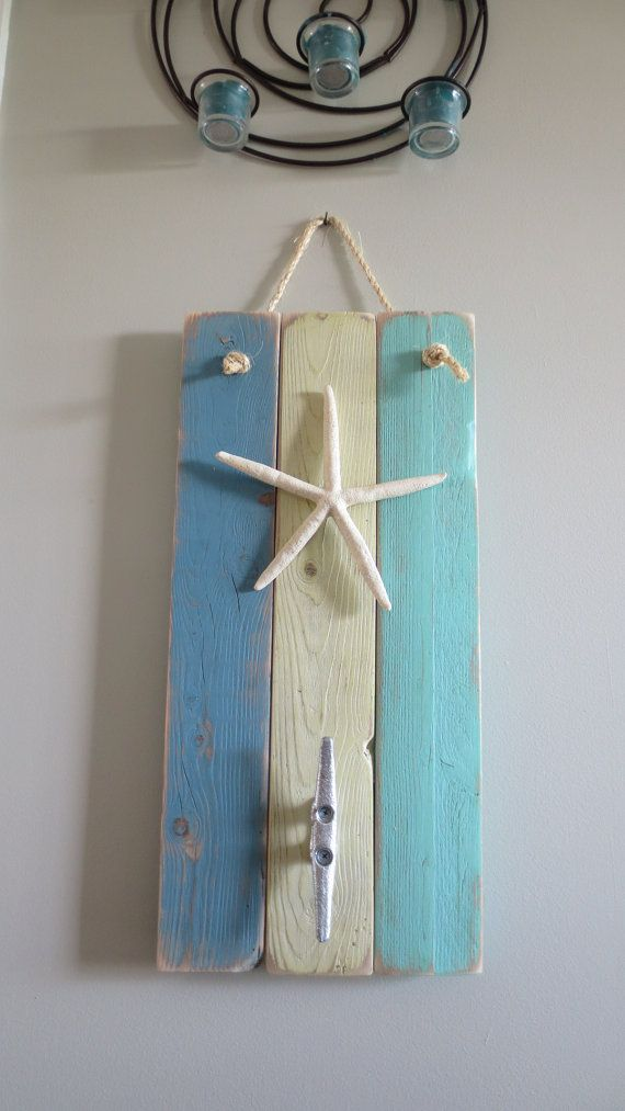 Starfish Wall Hanging Coat Hooks Dusty Blue Turquoise Yellow Nautical Wall Hanging Boat Cleat Coat Hooks Nautical Wall Hanging Hanging Coat Hooks Nautical Wall