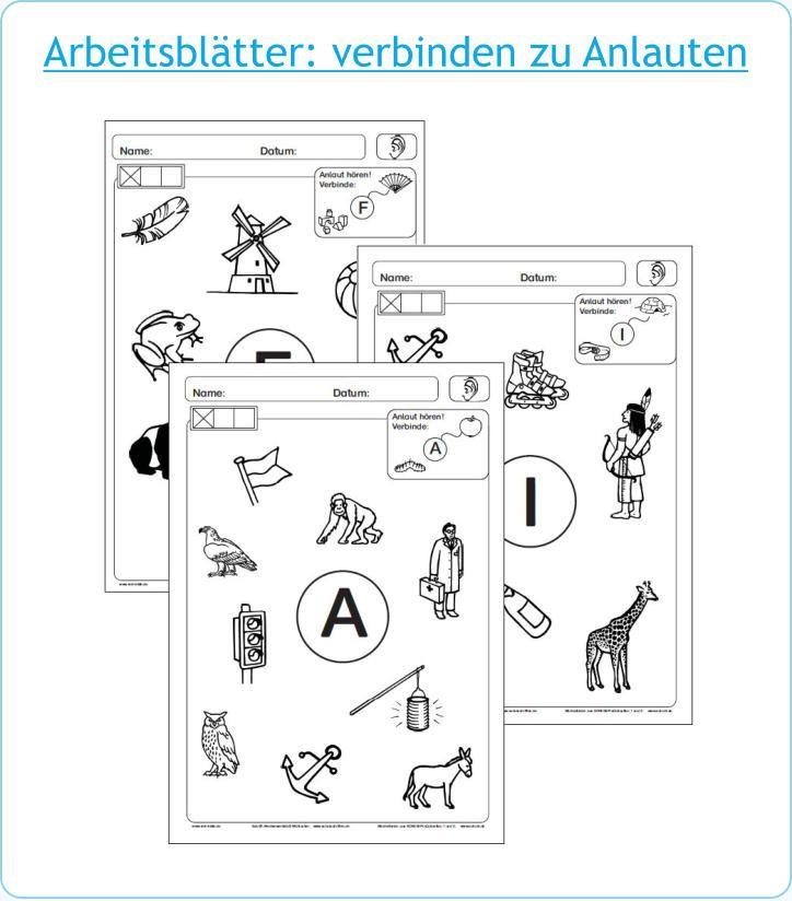 Arbeitsblätter: verbinden zu Anlauten | Anlaute | Pinterest | School
