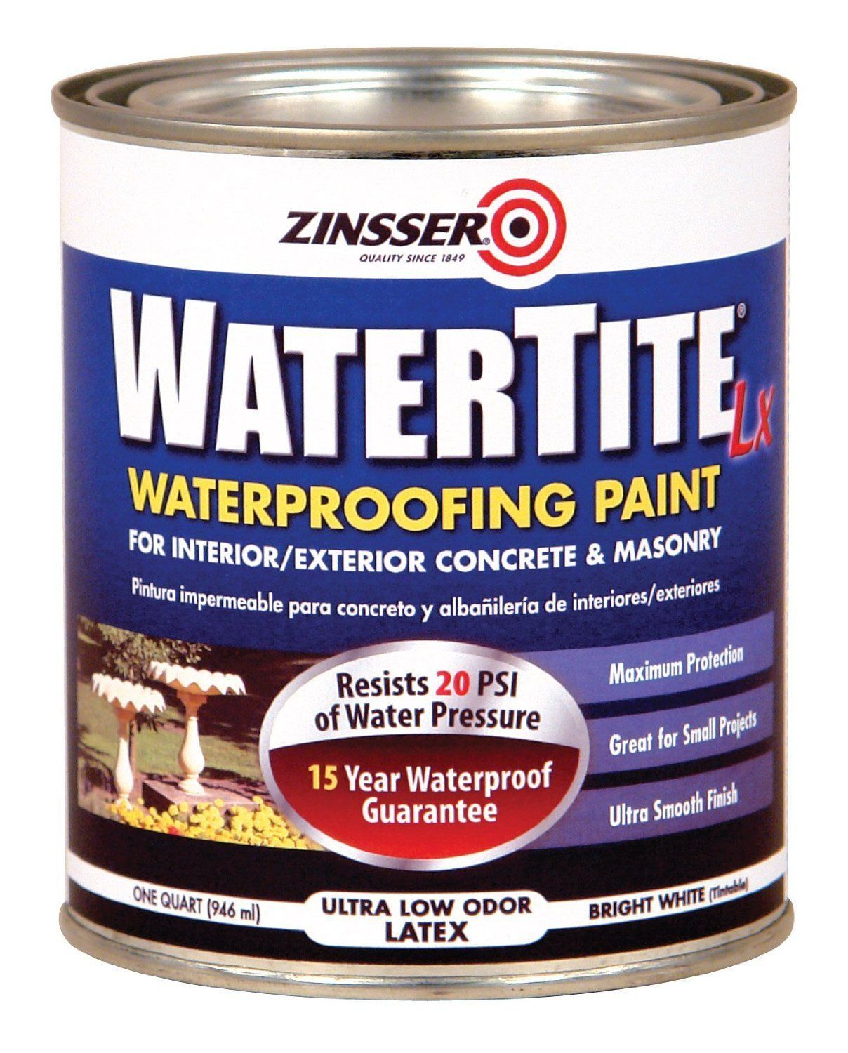 Zinsser 5024 Watertite Waterproofing Paint Water Base 1 Quart White Waterproof Paint Waterproofing Basement Mold And Mildew