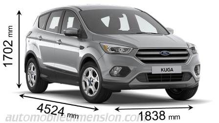 dimension ford kuga 2017 avec longueur largeur et hauteur comparatif 4x4 pinterest. Black Bedroom Furniture Sets. Home Design Ideas