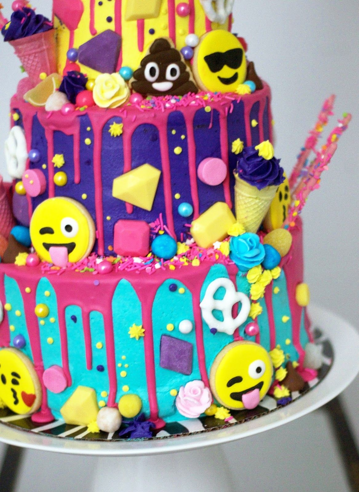 Three Tiered Emoji Cake