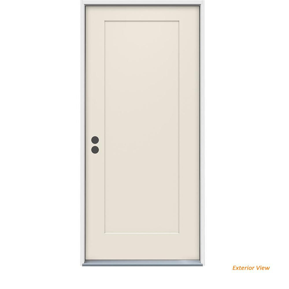 Jeld Wen 36 In X 80 In 1 Panel Craftsman Primed Steel Prehung Right Hand Inswing Front Door Craftsman Front Doors Craftsman Steel Doors