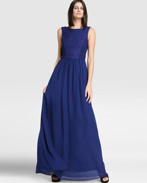 Vestido De Mujer Fórmula Joven Con Encaje En Color Azul Marino Vestidos De Mujer Vestir Con Estilo Vestido Maxi
