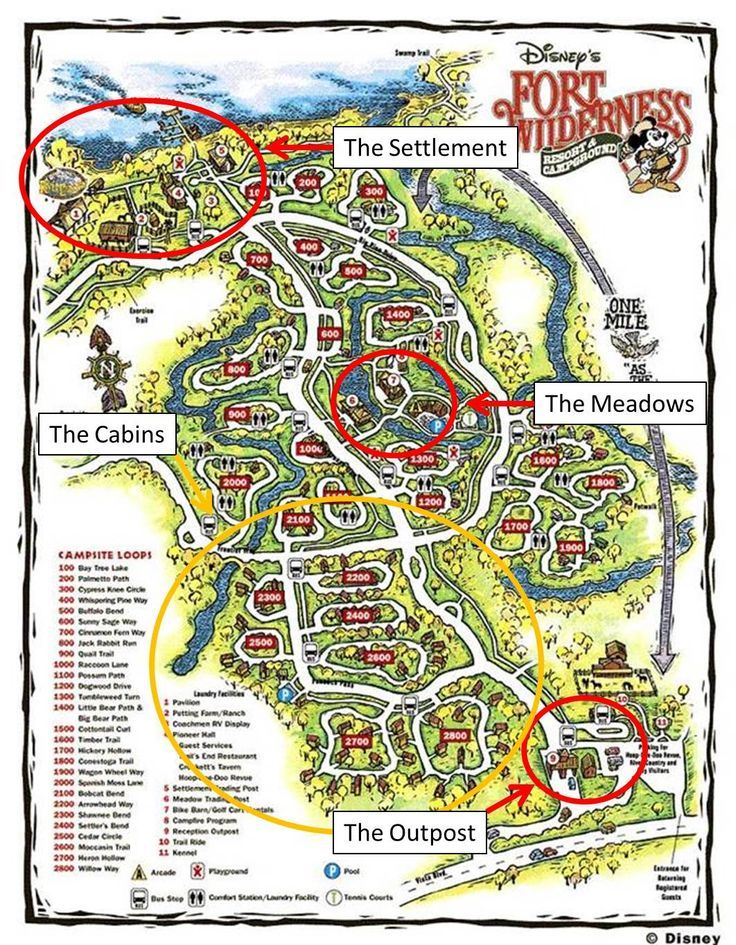Wilderness Resort Map Amenities at Disney's Fort Wilderness Resort: The Outpost and