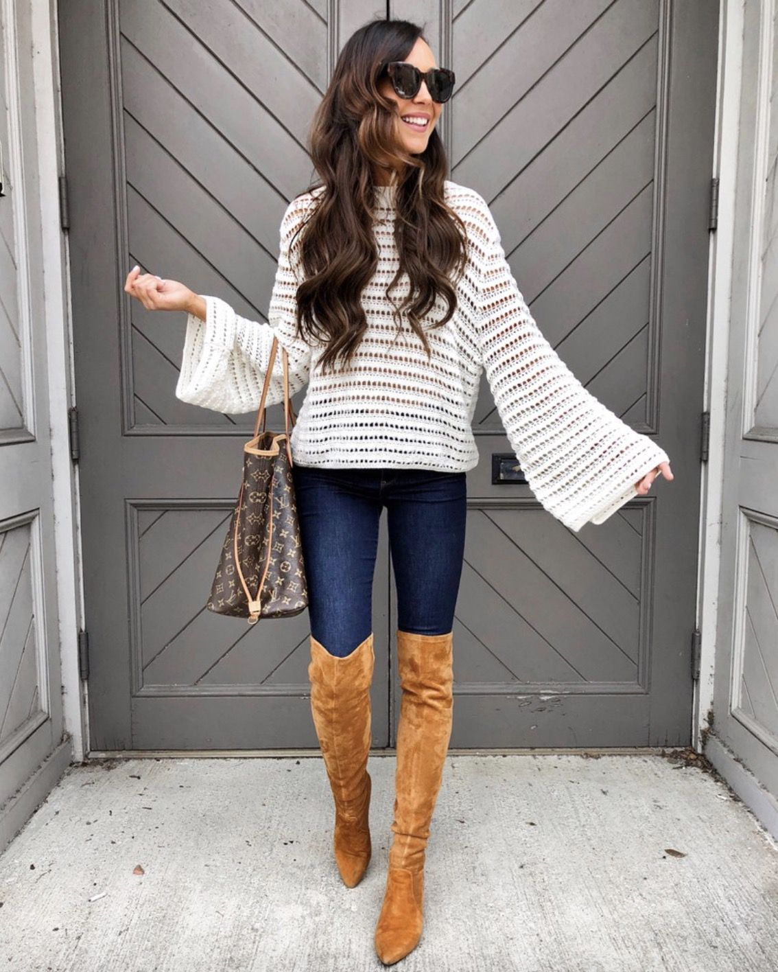1378fbc2e72 17+ Over The Knee Boot Outfit Looks To Get Inspired By  Styling tan over  the knee boots can be tricky if you don t know what to do with them. Copy  these ...