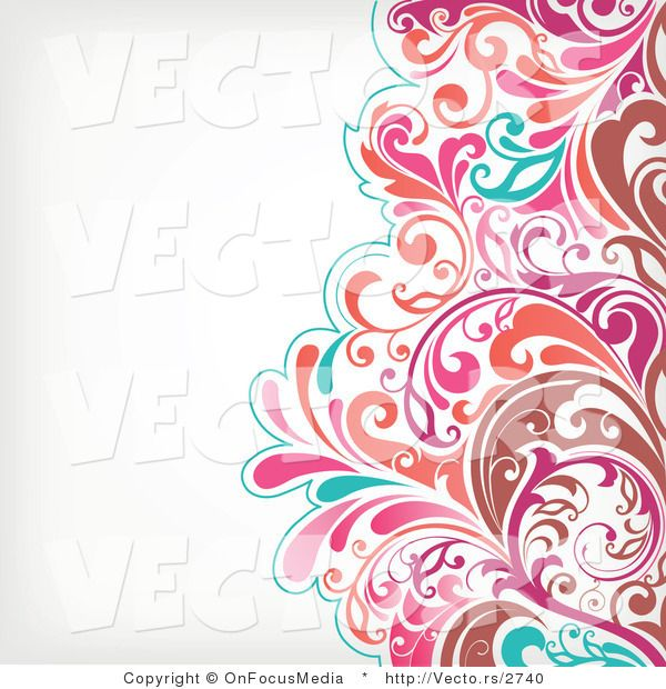Vector of Brown, Pink and Turquoise Floral Vines Pattern over off White Background Border Design