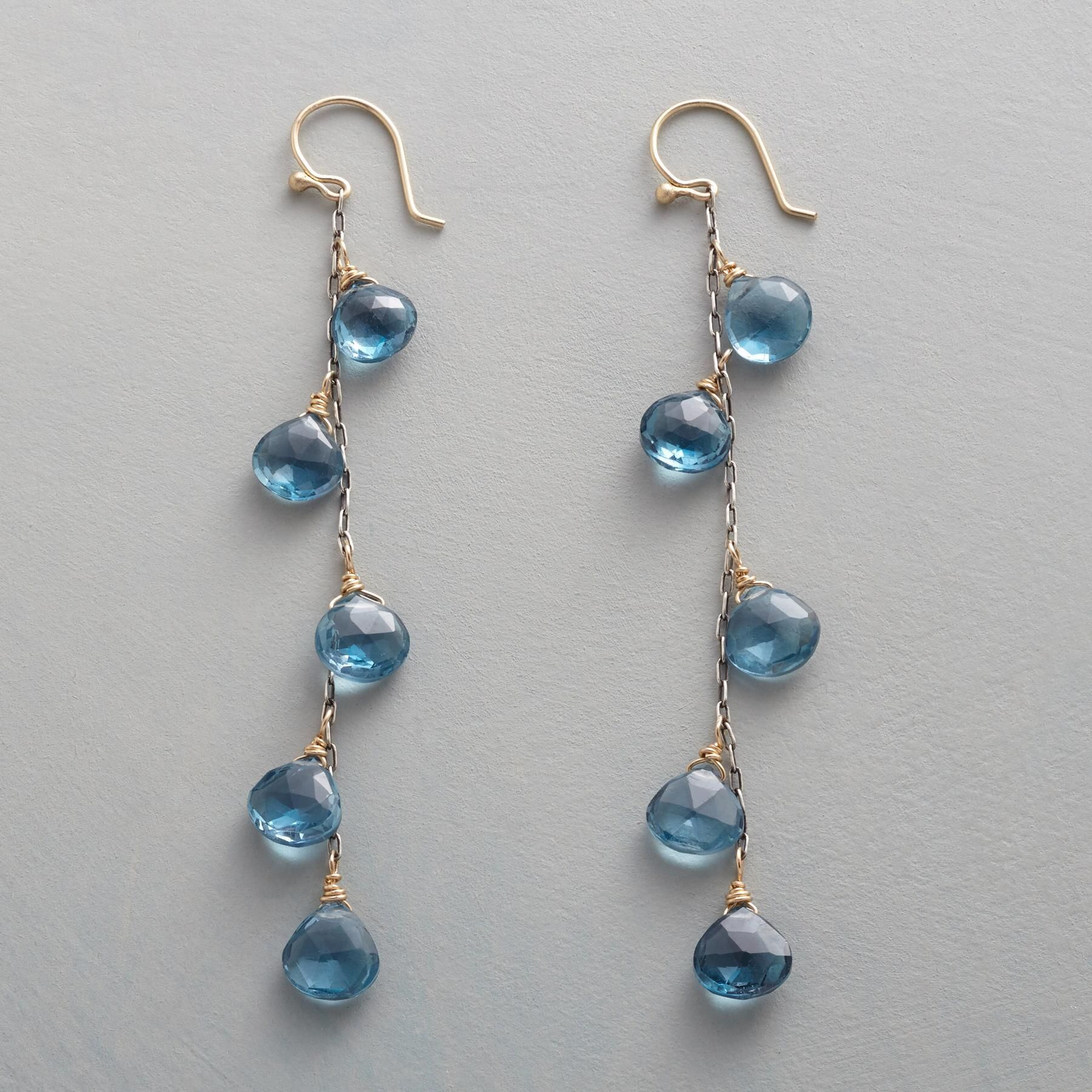"""DROPS OF HEAVEN EARRINGS -- London blue topaz briolettes cascade on oxidized sterling silver chains. 10kt gold wires. By Rebecca Lankford. USA. 2-1/2""""L."""