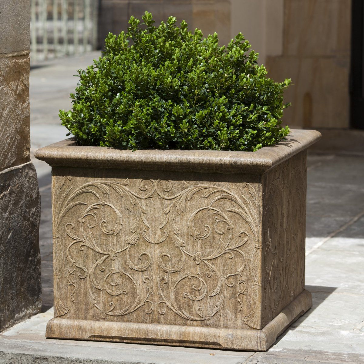 A Cast Stone Square Garden Container, With Beautiful Arabesque Detailing.  The Arabesque Square Planter Is Available In Your Choice Of 12  Finishes/patinas!