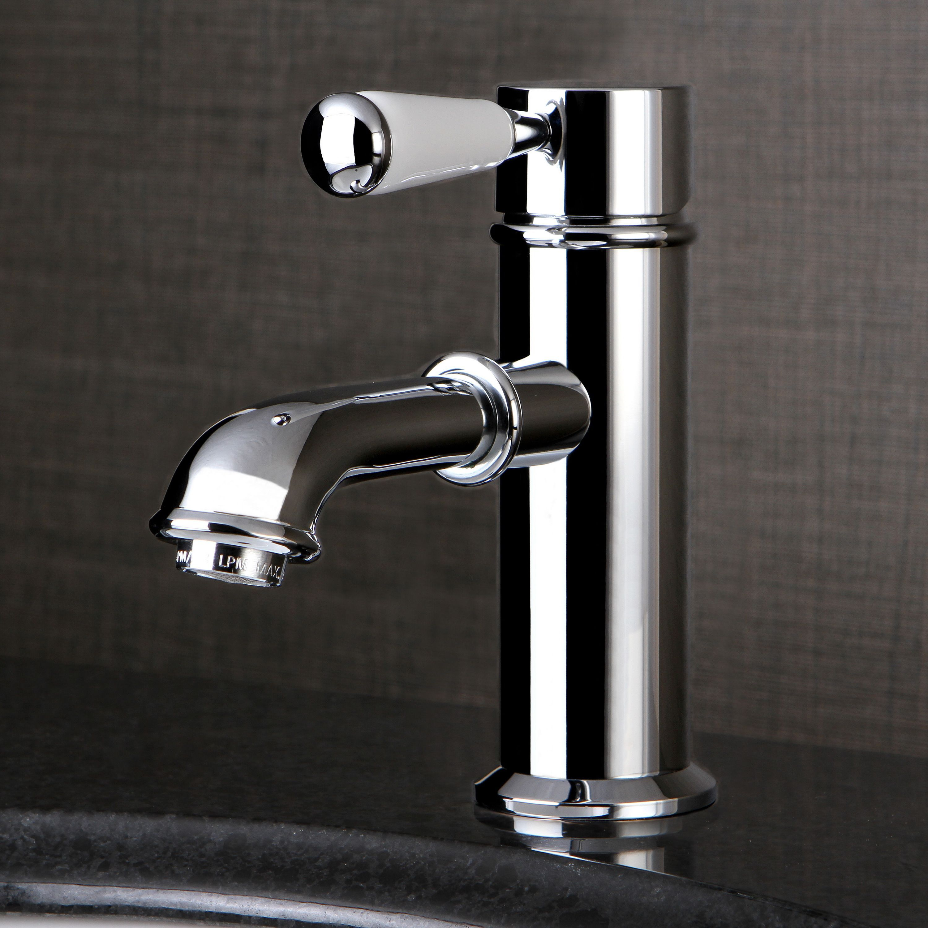 Kingston Brass Single-Hole Chrome Bathroom Faucet (Solid Lever ...