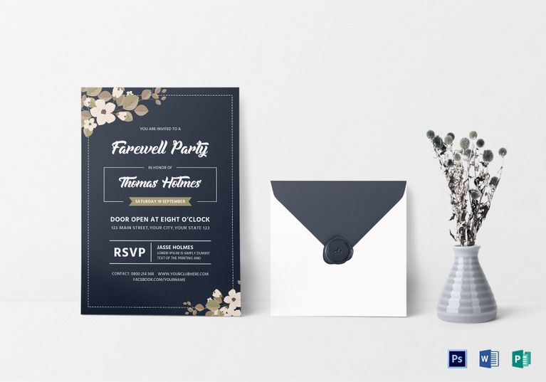 Farewell Party Invitation Card  Design Flyer Templates