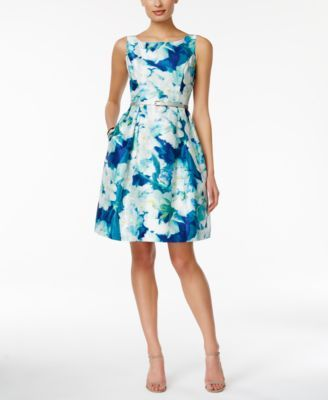 398093986a91 Jessica Howard Sleeveless Belted Floral-Print Fit & Flare Dress ...