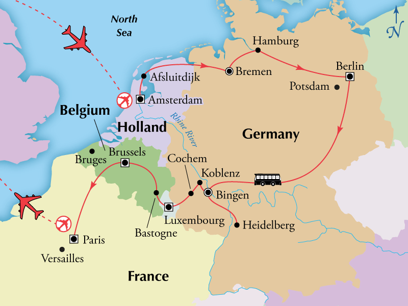 Map Of Germany Luxembourg Belgium.14 Day Holland Germany Luxembourg Belgium With Paris Flights