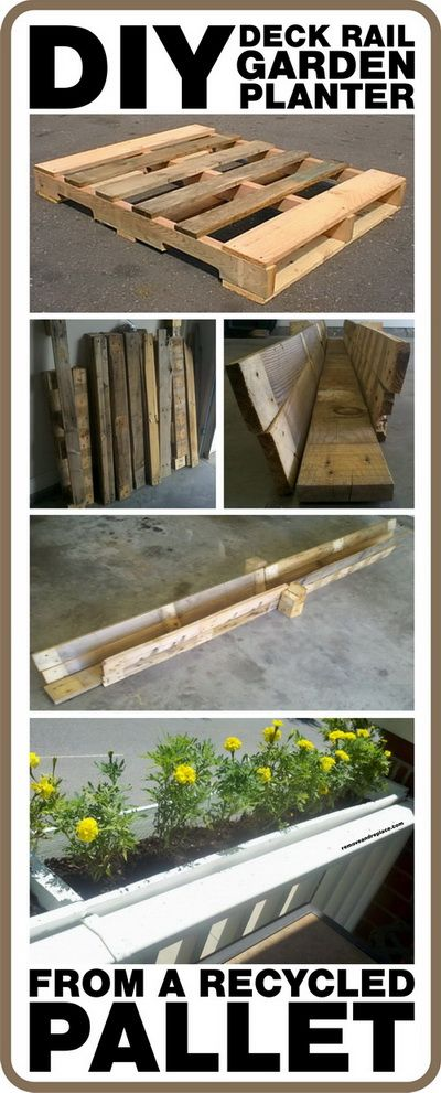 How to make a diy deck rail garden planter from a recycled for Recycle pallets as garden planters