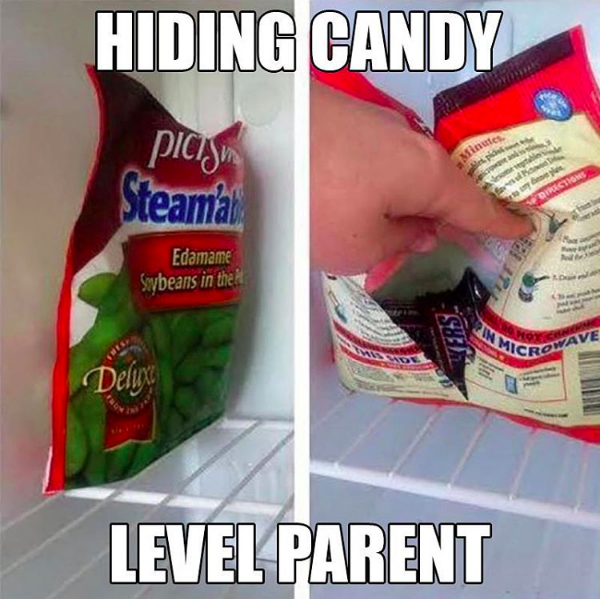 Keep your candy safe from your kids by stashing it inside a healthy snack's empty packaging.