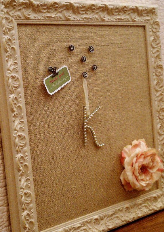 French country wall decor custom burlap pin board 22x22 - Cuadros shabby chic ...