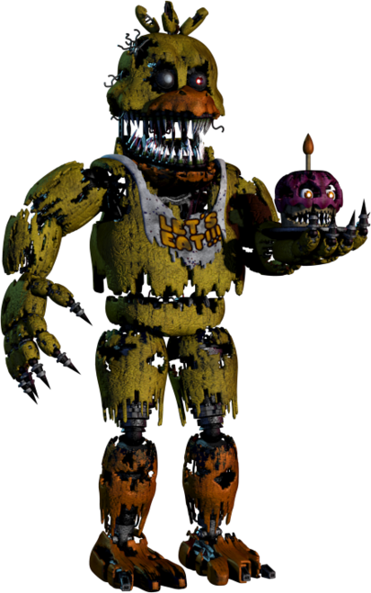 Full body photo of Nightmare Chica from Five Nights at