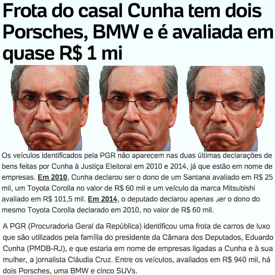 Frota do casal Cunha tem dois Porsches, BMW e é avaliada em quase R$ 1 milhão ➤ http://noticias.uol.com.br/politica/ultimas-noticias/2015/10/16/frota-do-casal-cunha-tem-dois-porsches-bmw-e-e-avaliada-em-quase-r-1-mi.htm ②⓪①⑤ ①⓪ ①⑥ #BrazilCorruption
